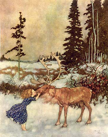 Edmund Dulac, She kissed the reindeer on the nose
