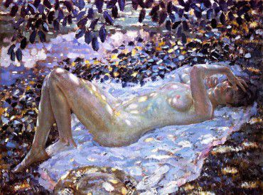 frederick-c-frieseke-nudo-alla-luce-screziata-del-sole-1915-51
